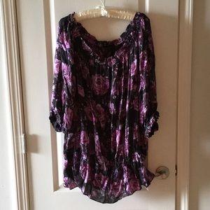INC silk Black purple floral blouse plus size 18W
